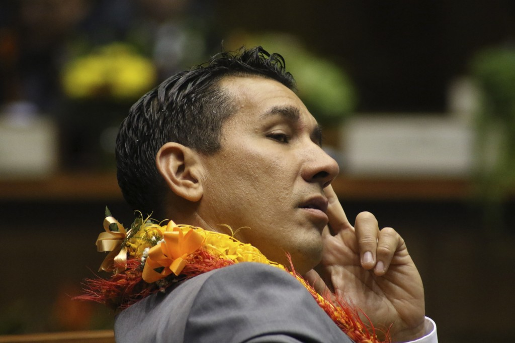 FILE -- In this Jan. 15, 2020 file photo, is state Sen. Kai Kahele at the opening day of the Hawaii Sate Legislature in Honolulu. Kahele is favored to...