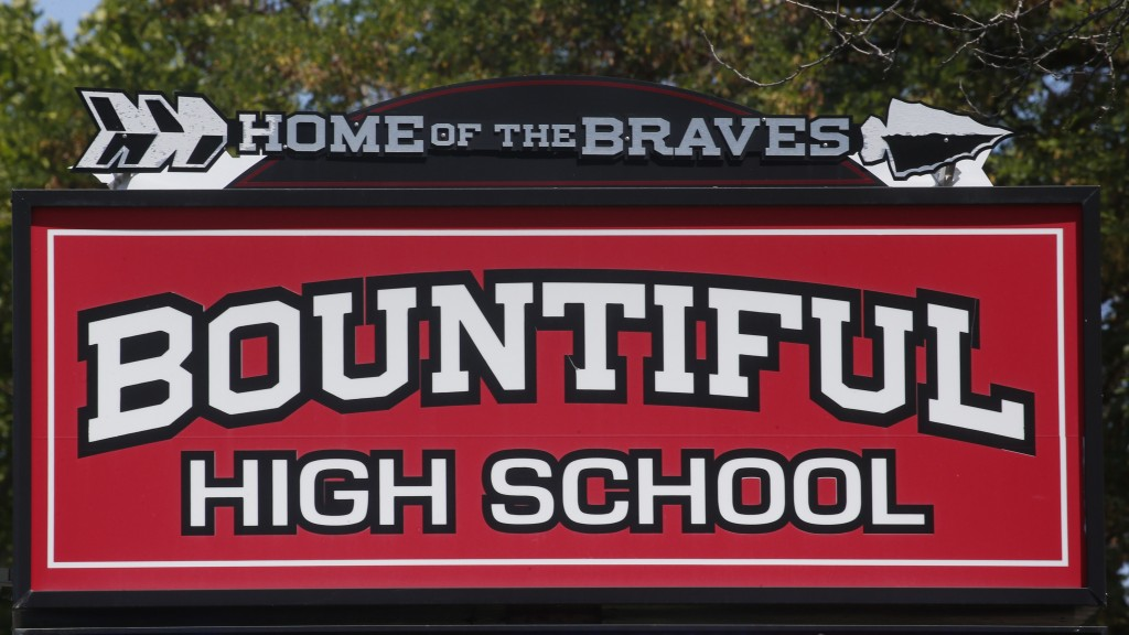 Bountiful High School sign is shown , Tuesday July 28, 2020, in Bountiful, Utah. While advocates have made strides in getting Native American symbols ...