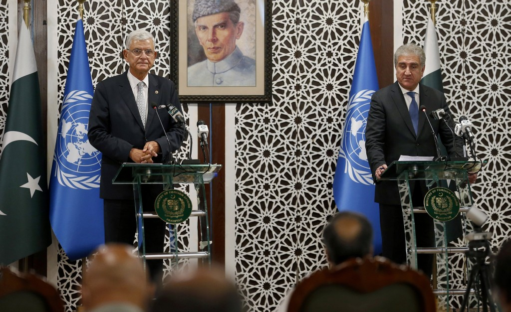 United Nations General Assembly President-elect Volkan Bozkir, left, and Pakistan Foreign Minister Shah Mahmood Qureshi give a joint press conference ...