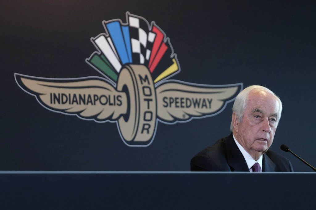 FILE - In this Monday, Nov. 4, 2019, file photo, Penske Corporation Chairman Roger Penske responds to a question during a press conference at Indianap...