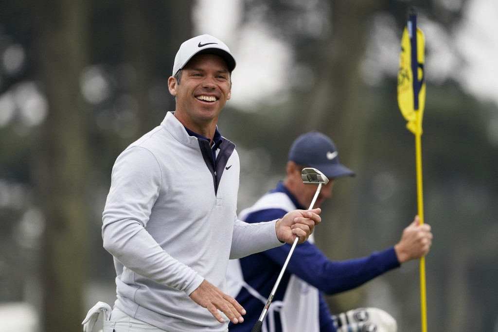 Paul Casey of England, smiles on the ninth hole during the final round of the PGA Championship golf tournament at TPC Harding Park Sunday, Aug. 9, 202...