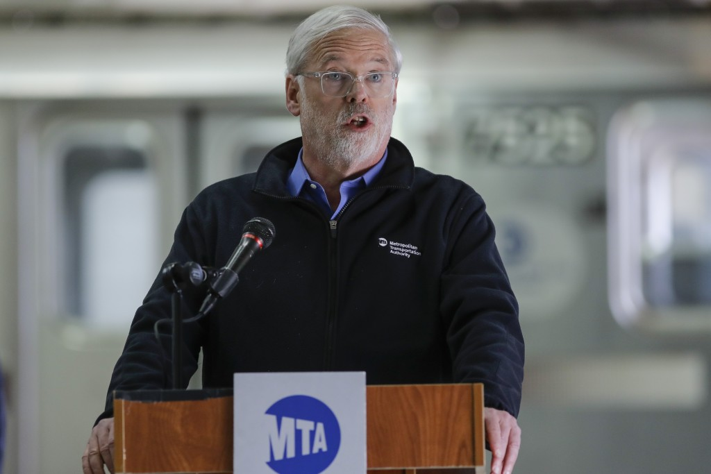 FILE - In this Tuesday, May 19, 2020, file photo, Metropolitan Transportation Authority chairman and CEO Patrick Foye speaks during a news conference ...