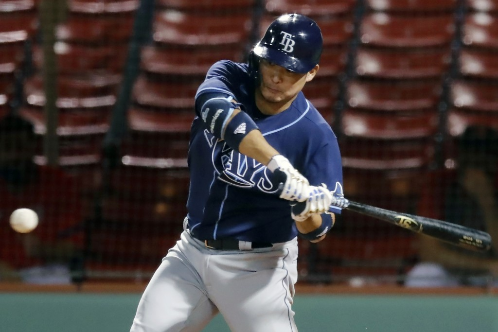 Tampa Bay Rays' Yoshitomo Tsutsugo bats during the seventh inning of a baseball game against the Boston Red Sox, Monday, Aug. 10, 2020, in Boston. (AP...
