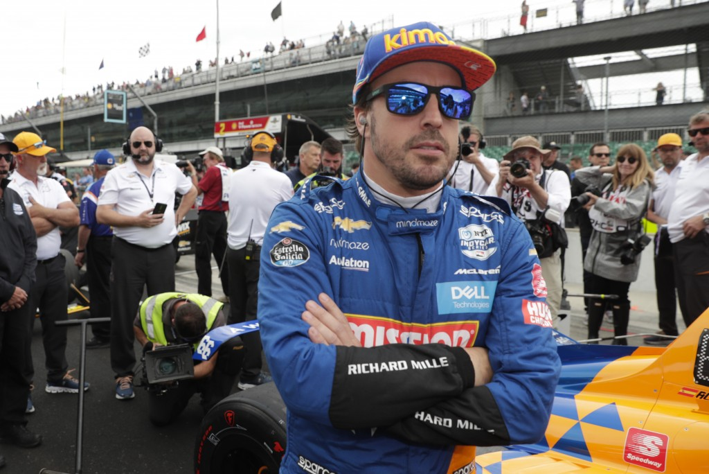 FILE - In this file photo dated Sunday, May 19, 2019, Fernando Alonso, of Spain, prepares to drive during qualifications for the Indianapolis 500 Indy...