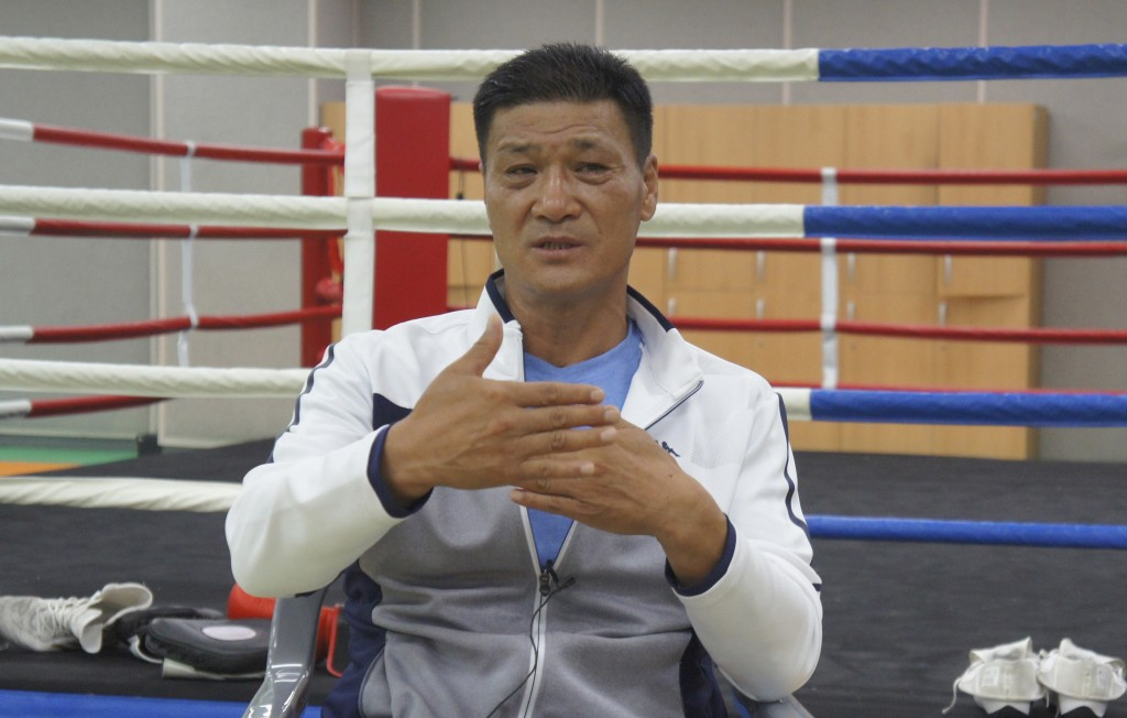 Former Olympic gold medalist Park Si-hun speaks during an interview on Jeju Island, South Korea, Tuesday, July 21, 2020. The last South Korean boxer t...