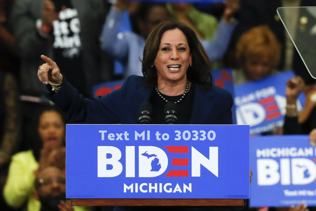 FILE - In this March 9, 2020, file photo, Sen. Kamala Harris, D-Calif., speaks at a campaign rally for Democratic presidential candidate former Vice P...