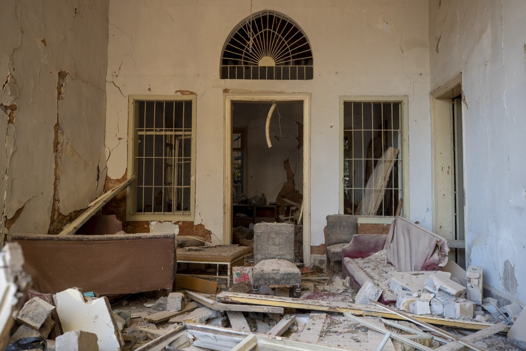 A destroyed room of a building near the site of last week's explosion is seen in Beirut, Lebanon, Wednesday, Aug. 12, 2020. (AP Photo/Hassan Ammar)