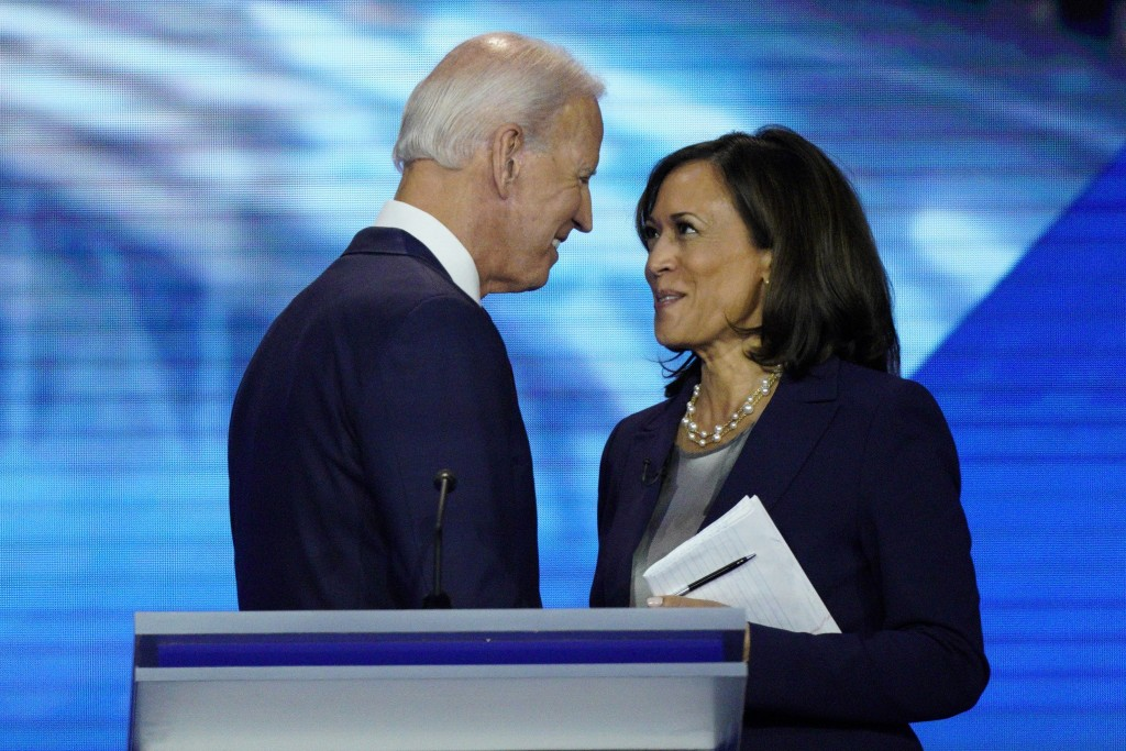 FILE - In this Sept. 12, 2019, file photo, Democratic presidential candidate former Vice President Joe Biden, left, and then-candidate Sen. Kamala Har...