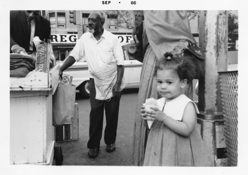This September 1966 photo provided by the Kamala Harris campaign shows her during a family visit to the Harlem neighborhood of New York. (Kamala Harri...