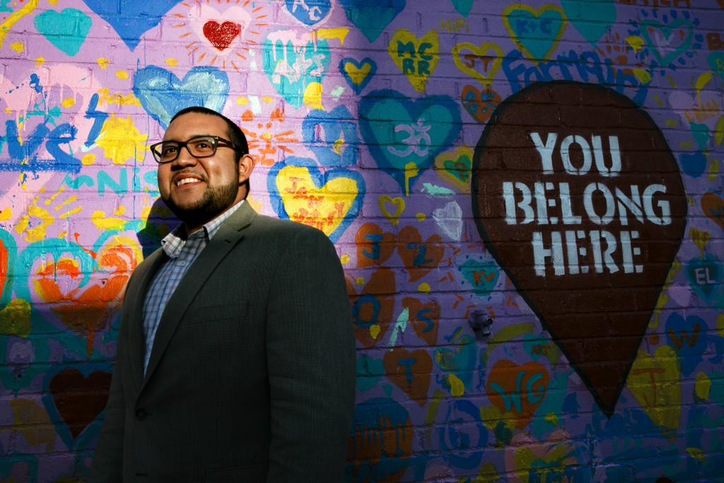 Ricky Hurtado, a Democratic candidate for the North Carolina state house, poses for a portrait by a mural in Graham, N.C., Tuesday, March 10, 2020. He...