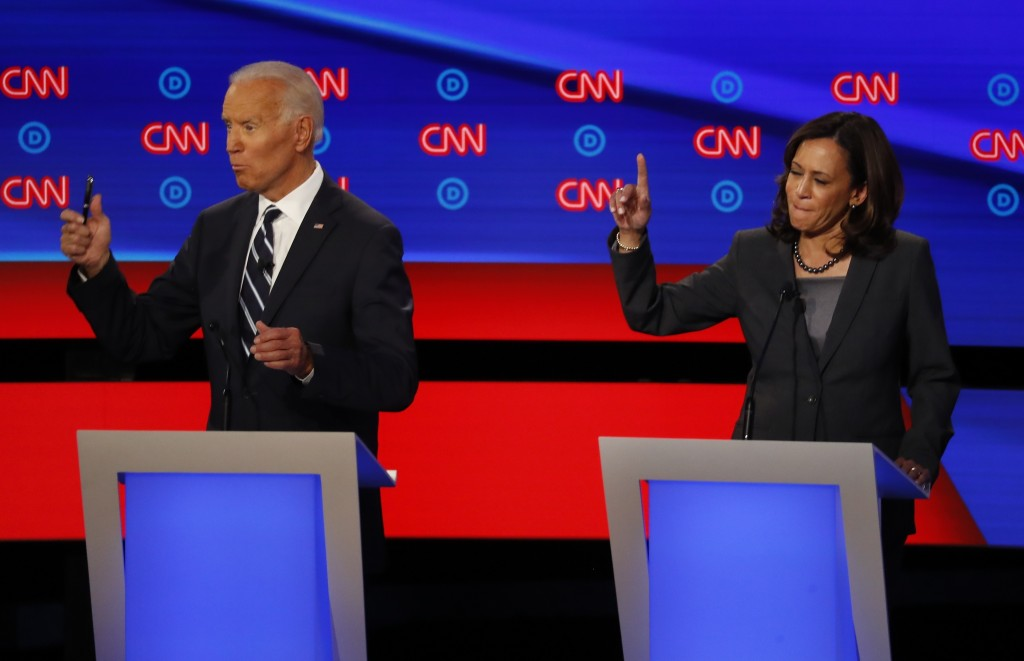 FILE - In this July 31, 2019, file photo, then-Democratic presidential candidate Sen. Kamala Harris, D-Calif., and Democratic presidential candidate f...