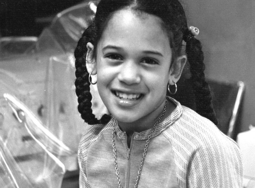 This undated photo provided by the Kamala Harris campaign in April 2019 shows her as a child at her mother's lab in Berkeley, Calif. (Kamala Harris ca...