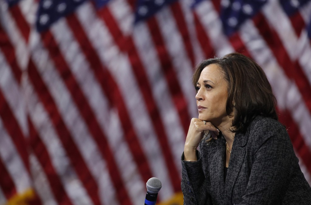 FILE - In this Oct. 2, 2019, file photo, then -Democratic presidential candidate Sen. Kamala Harris, D-Calif., listens during a gun safety forum in La...