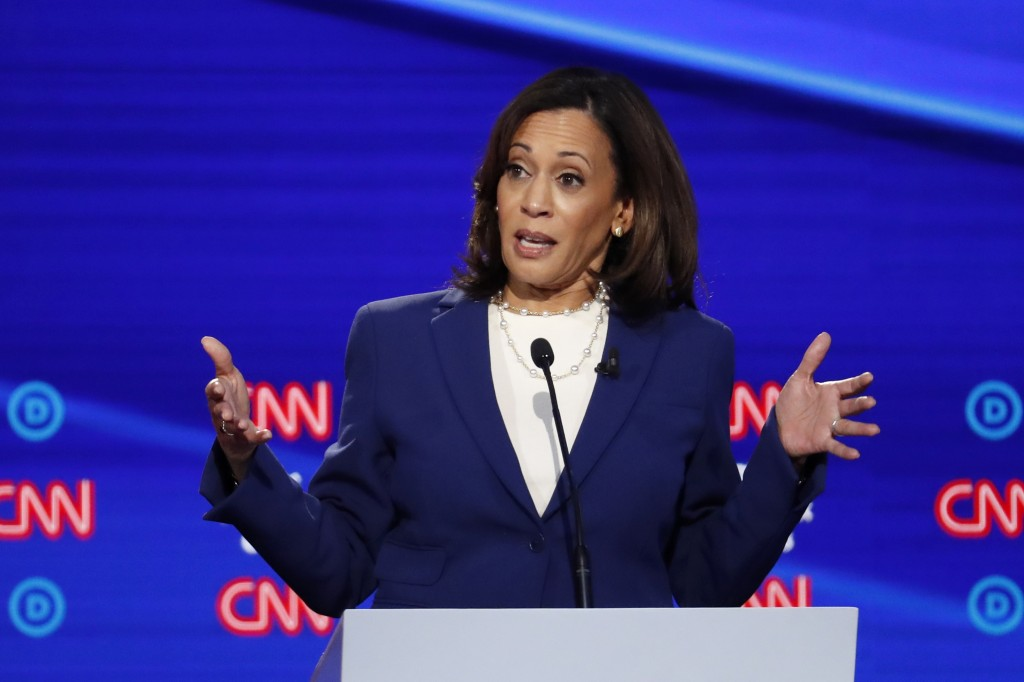 FILE - In this Oct. 15, 2019, file photo, then-Democratic presidential candidate Sen. Kamala Harris, D-Calif., speaks during a Democratic presidential...