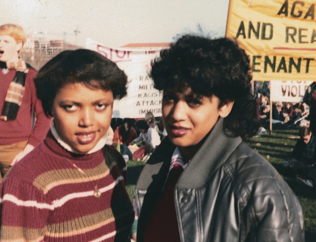 This November 1982 photo provided by the Kamala Harris campaign shows her, right, with Gwen Whitfield at an anti-apartheid protest during her freshman...
