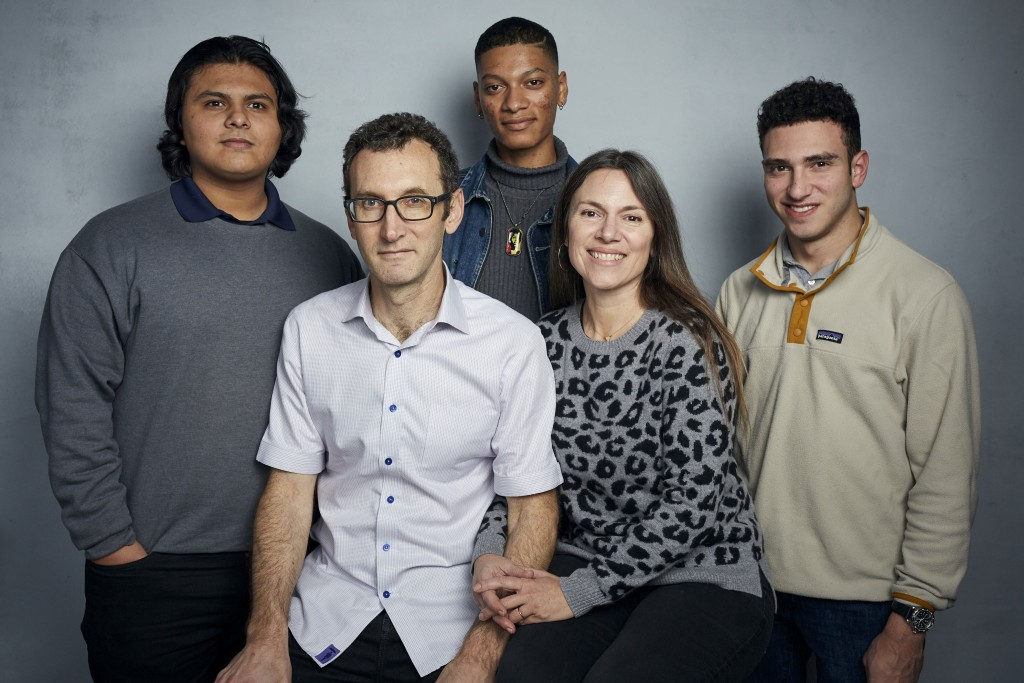 """FILE - Steven Garza, from left, director Jesse Moss, Rene Otero, director Amanda McBaine and Ben Feinstein pose for a portrait to promote the film """"Bo..."""