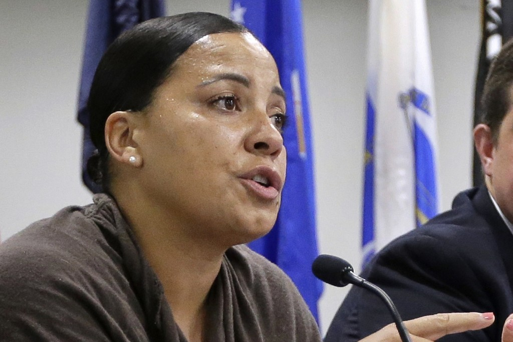 FILE - In this June 26, 2018, file photo, then-Suffolk County District Attorney Democratic candidate Rachael Rollins speaks during a forum in Boston. ...