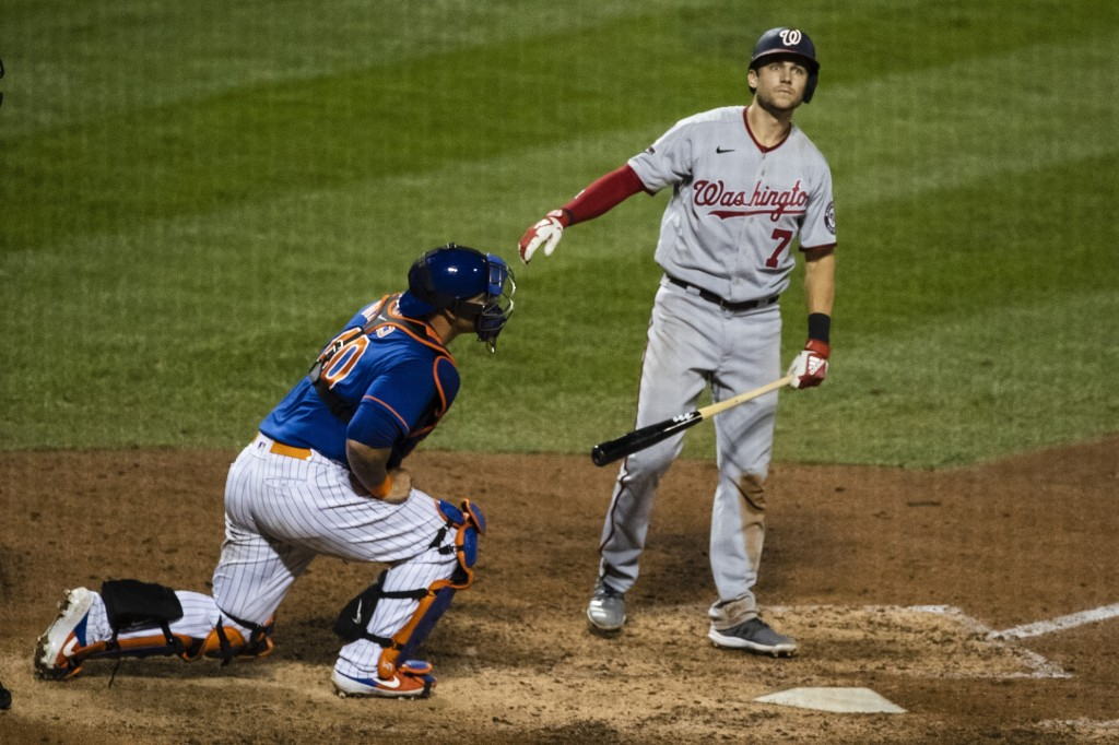 Washington Nationals' Trea Turner (7) reacts after striking out to end a baseball game against the New York Mets Wednesday, Aug. 12, 2020, in New York...