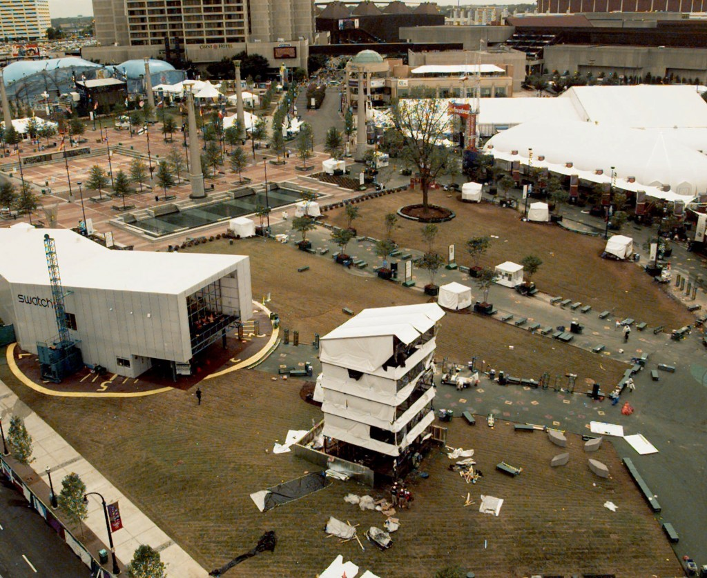 FILE - This Sunday, July 28, 1996, file photo shows Centennial Park at the 1996 Olympic Games in Atlanta, the day after an explosion centered at the b...