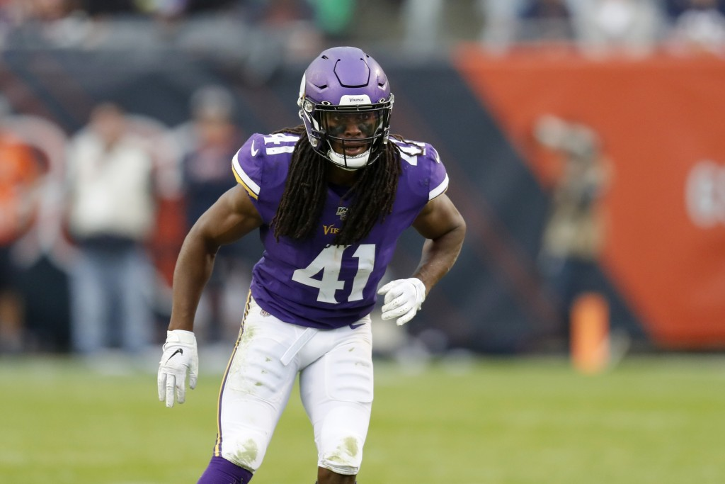 FILE - In this Sept. 29, 2019, file photo, Minnesota Vikings defensive back Anthony Harris takes up his position during the second half of an NFL foot...