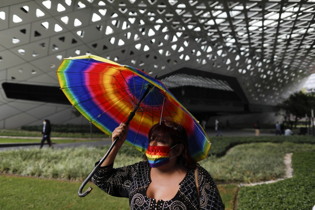 LGBT activist and human rights defender Marsha Beya Rubyn, 55, arrives for a movie showing at the Cineteca Nacional, Mexico's film archive, in Mexico ...