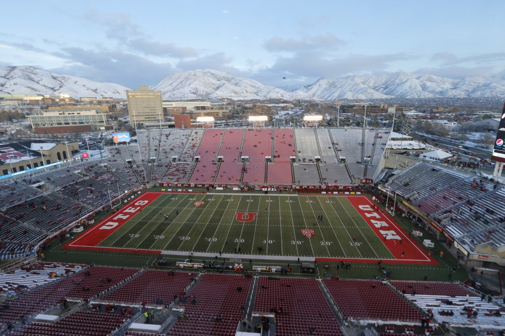 FILE - Rice-Eccles Stadium is shown before the start of an NCAA college football game between Colorado and Utah Saturday, Nov. 30, 2019, in Salt Lake ...