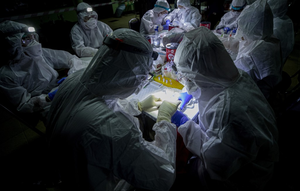 Researchers take samples from a bat's mouth inside Sai Yok National Park in Kanchanaburi province, west of Bangkok, Thailand, Friday, July 31, 2020. R...