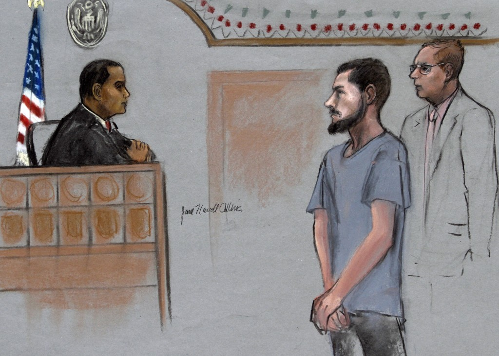 File - In this Friday, June 12, 2015, file courtroom sketch, Nicholas Rovinski, second from right, of Warwick, R.I., is depicted standing with his att...