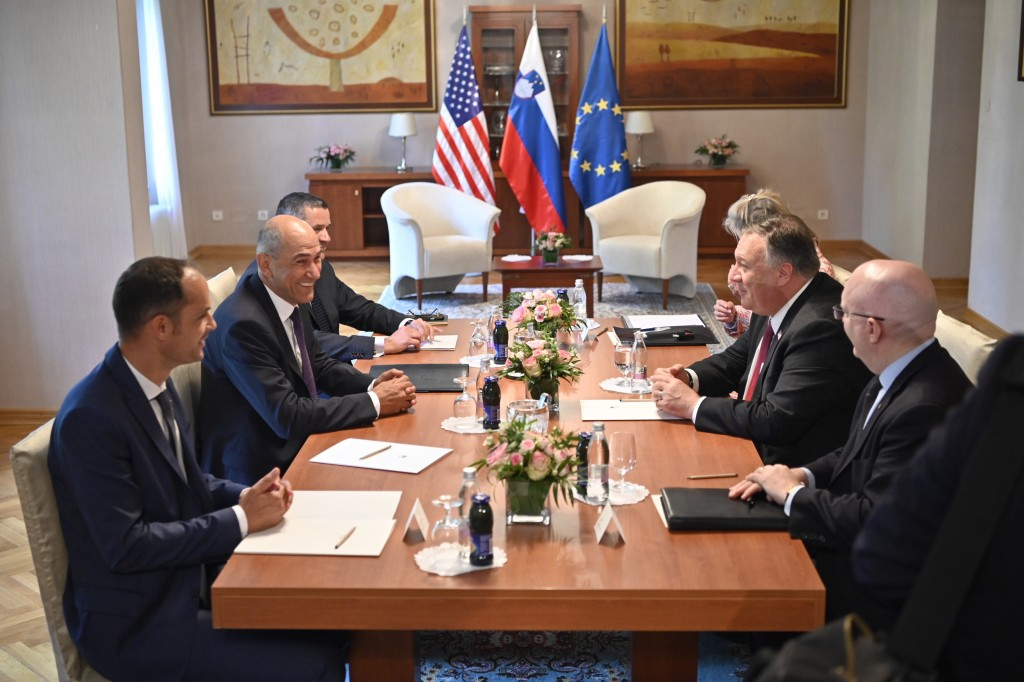 Slovenian Prime Minister Janez Jansa, second left and US Secretary of State Mike Pompeo , second right take part in a meeting in Bled, Slovenia, Thurs...