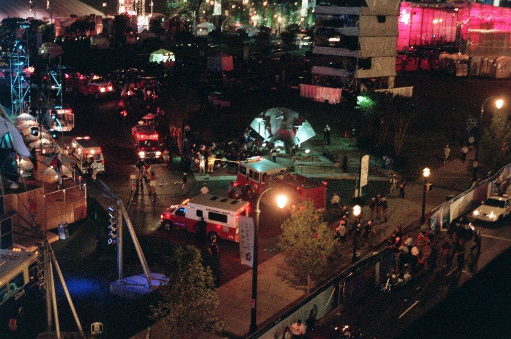 FILE - This Saturday morning, July 27, 1996, file photo shows an overview of Centennial Park in Atlanta after an explosion struck a tower near a stage...