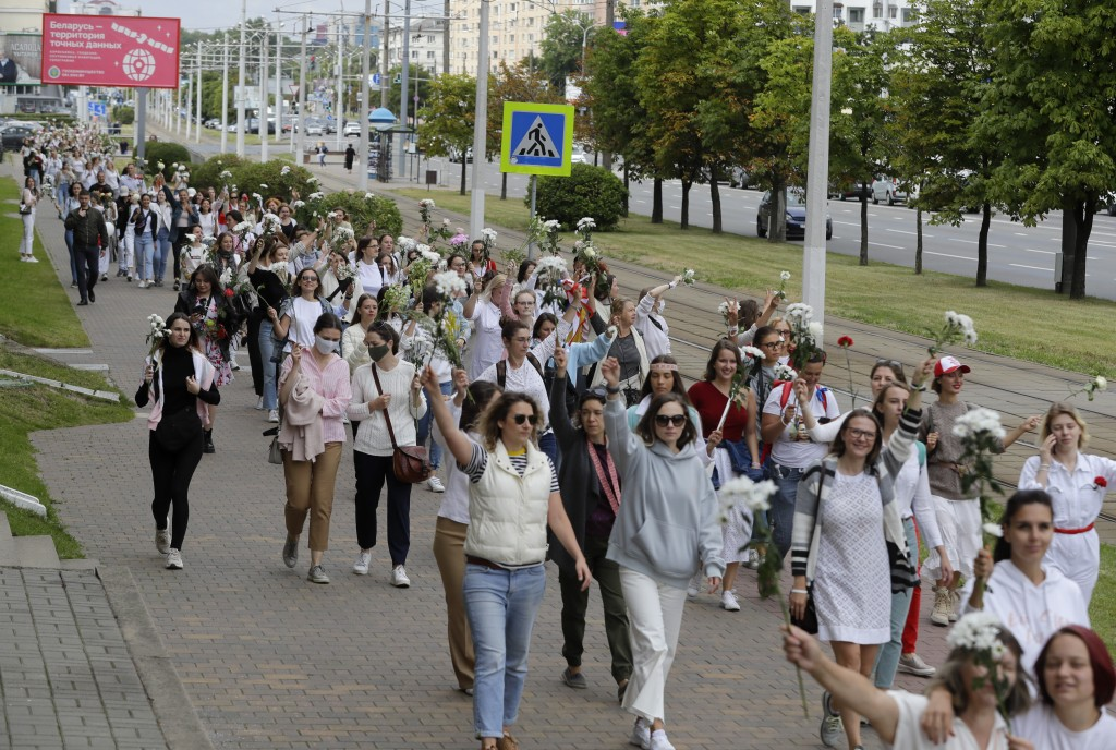 Belarusian women rally in solidarity with protesters injured in the latest rallies against the results of the country's presidential election in Minsk...