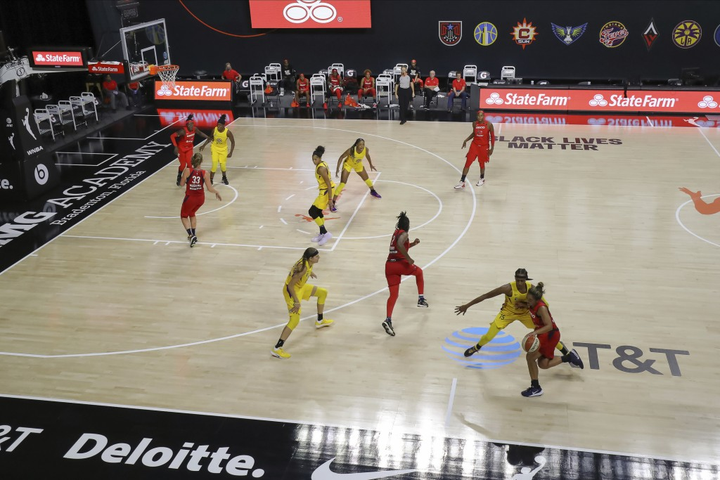 A general view of the Los Angeles Sparks and Washington Mystics during the first half of a WNBA basketball game Thursday, Aug. 13, 2020, in Bradenton,...