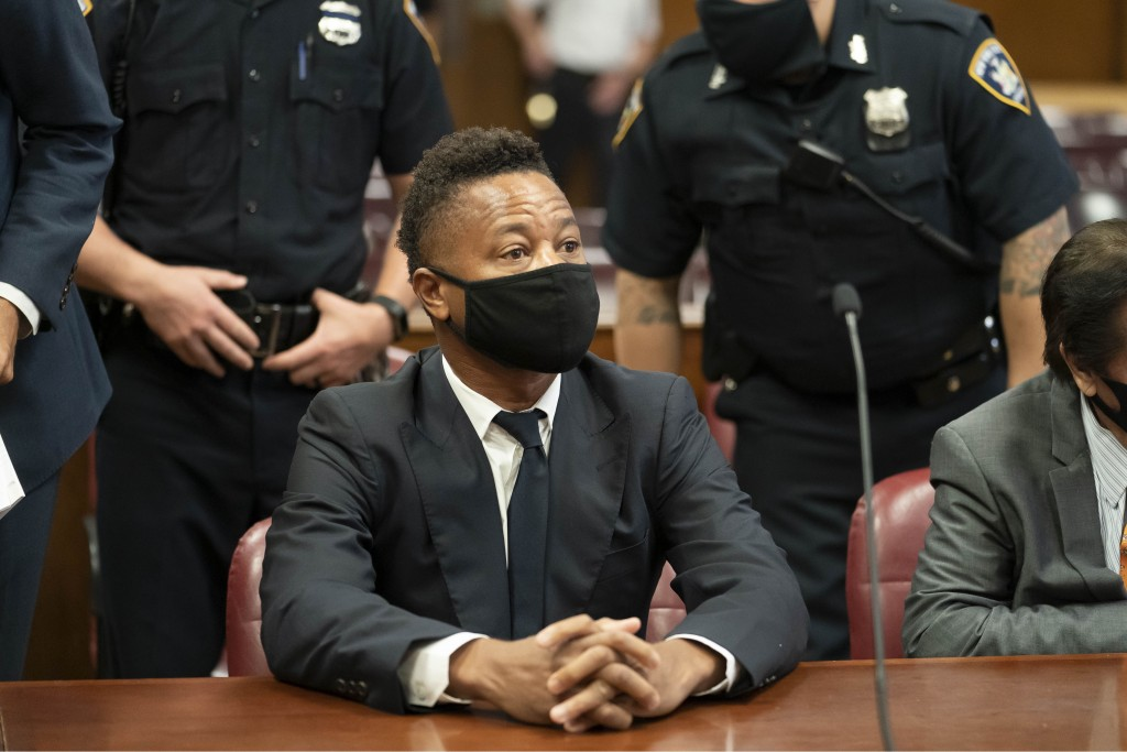 Actor Cuba Gooding Jr. sits in court during a hearing in his sexual misconduct case, Thursday, Aug. 13, 2020, in New York. A judge ordered the courtro...