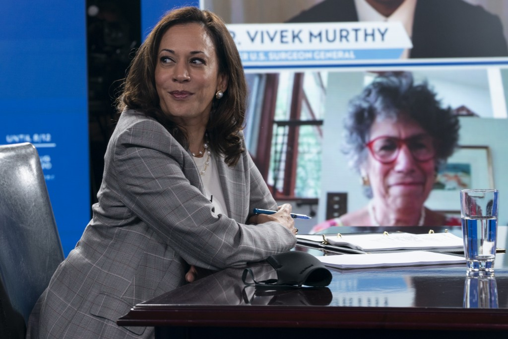 Democratic presidential candidate former Vice President Joe Biden's running mate Sen. Kamala Harris, D-Calif., and Biden receive a virtual briefing on...