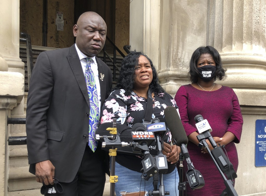 Tamika Palmer, mother of Breonna Taylor, addresses the media in Louisville, Ky. on  Thursday, Aug. 13, 2020.  Five months after her daughter was shot ...