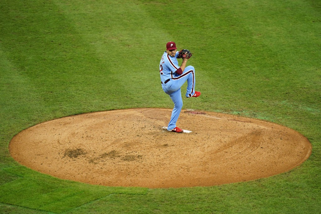 Philadelphia Phillies' Jose Alvarez pitches during the fifth inning of a baseball game against the Baltimore Orioles, Thursday, Aug. 13, 2020, in Phil...