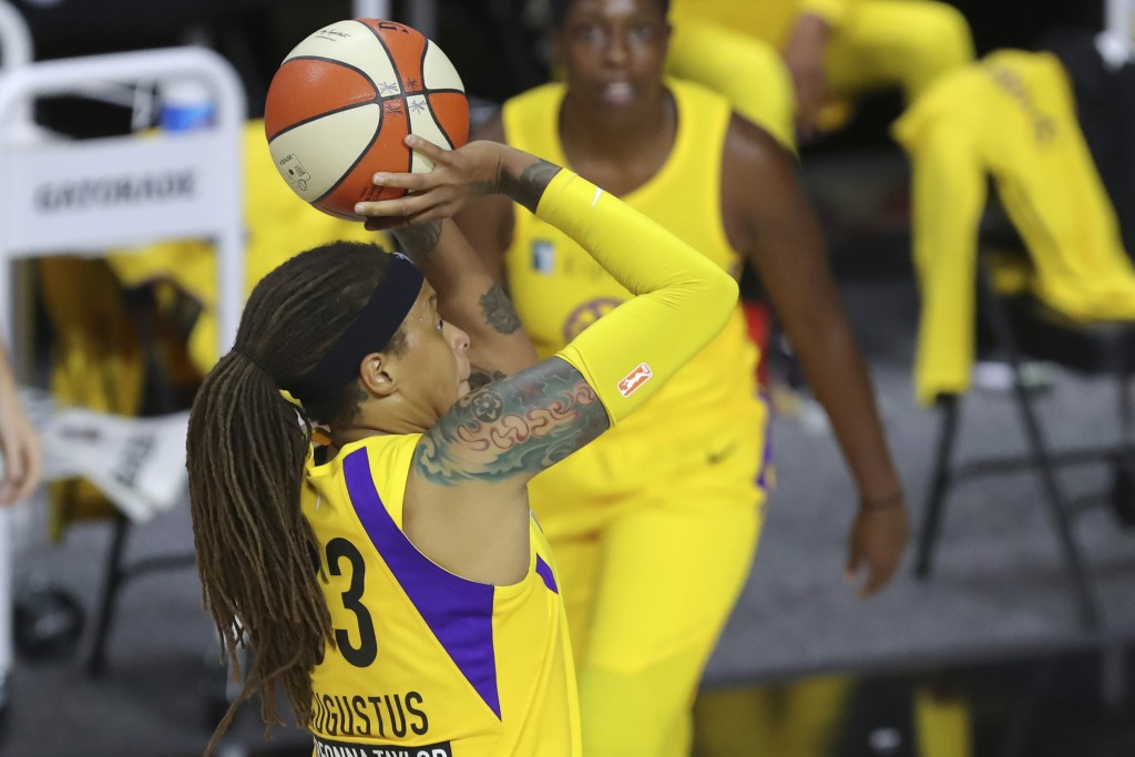 Los Angeles Sparks' Seimone Augustus shoots against the Washington Mystics during the first half of a WNBA basketball game Thursday, Aug. 13, 2020, in...