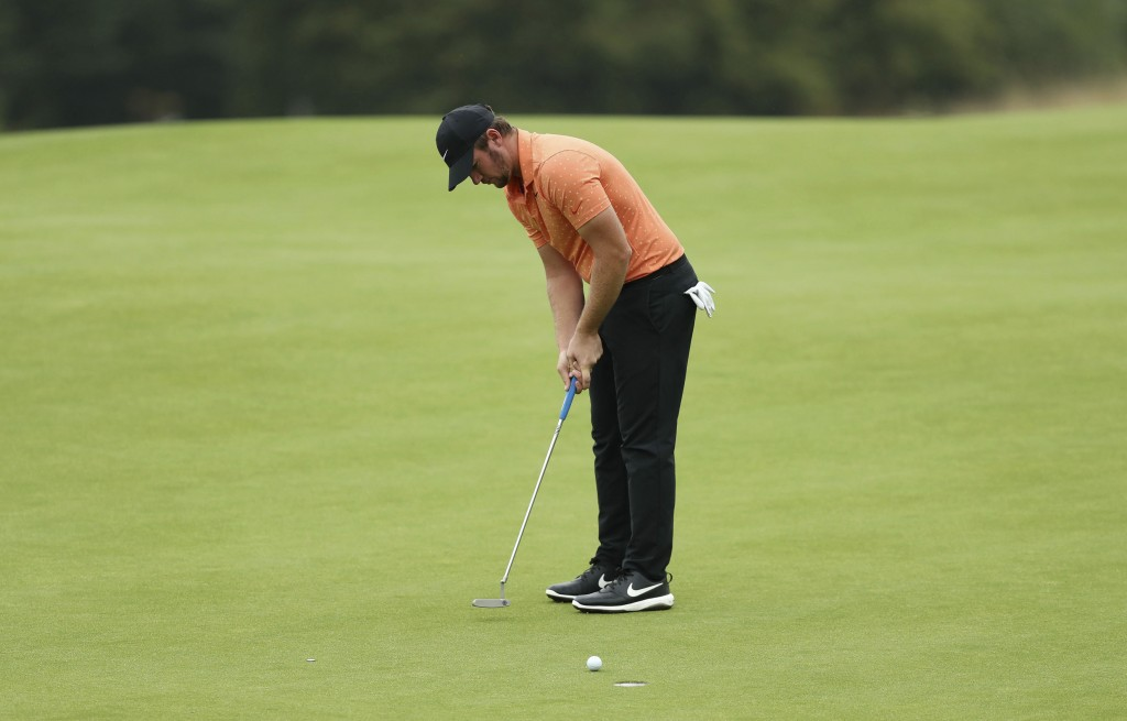 Sam Horsfield of England putts on the seventeenth green during day two of the Celtic Classic at Celtic Manor Resort, Newport, Wales, Friday Aug. 14, 2...