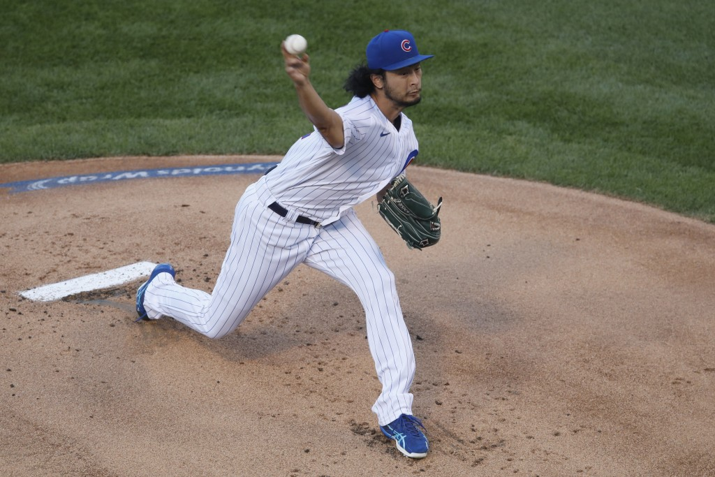 Chicago Cubs starting pitcher Yu Darvish delivers during the first inning of a baseball game against the Milwaukee Brewers, Thursday, Aug. 13, 2020, i...