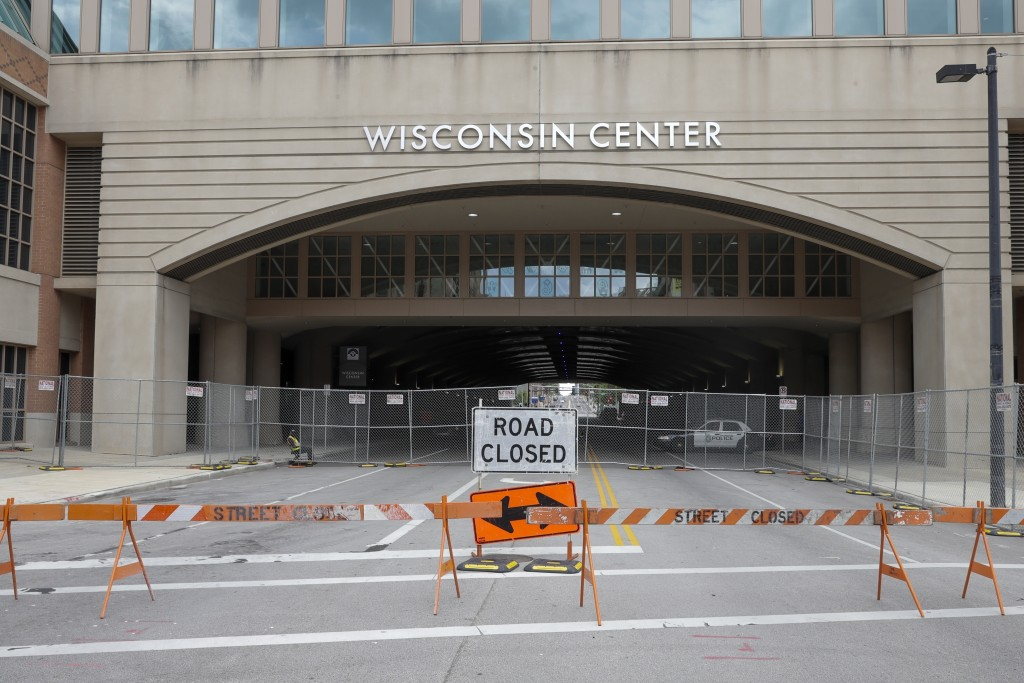 In this Aug. 5, 2020, file photo, The Wisconsin Center in Milwaukee. Joe Biden is poised to unveil his vision for the modern-day Democratic Party in t...