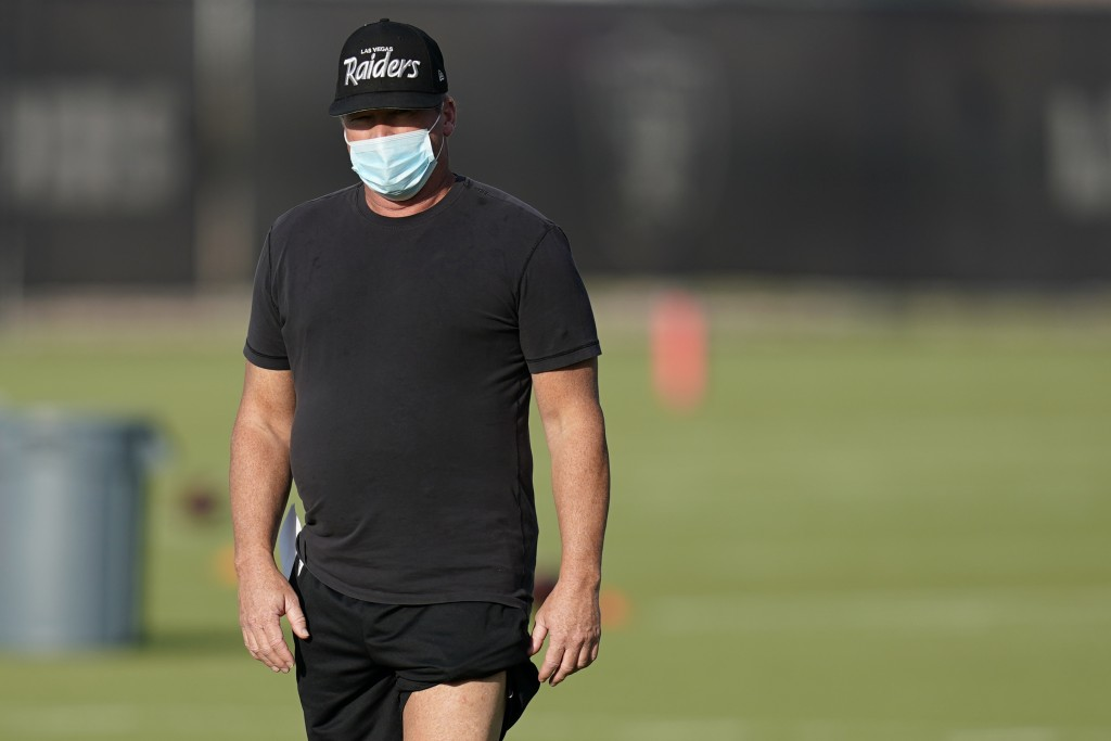 Las Vegas Raiders head coach Jon Gruden watches during an NFL football training camp practice Thursday, Aug. 13, 2020, in Henderson, Nev. (AP Photo/Jo...