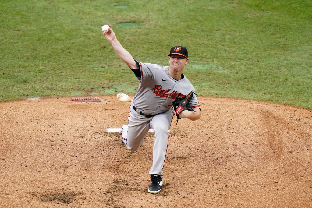 Baltimore Orioles' Tom Eshelman pitches during the fourth inning of a baseball game against the Philadelphia Phillies, Thursday, Aug. 13, 2020, in Phi...