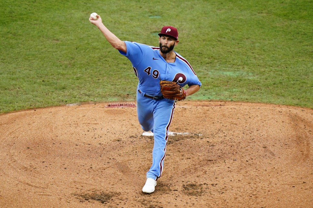 Philadelphia Phillies' Jake Arrieta pitches during the fourth inning of a baseball game against the Baltimore Orioles, Thursday, Aug. 13, 2020, in Phi...