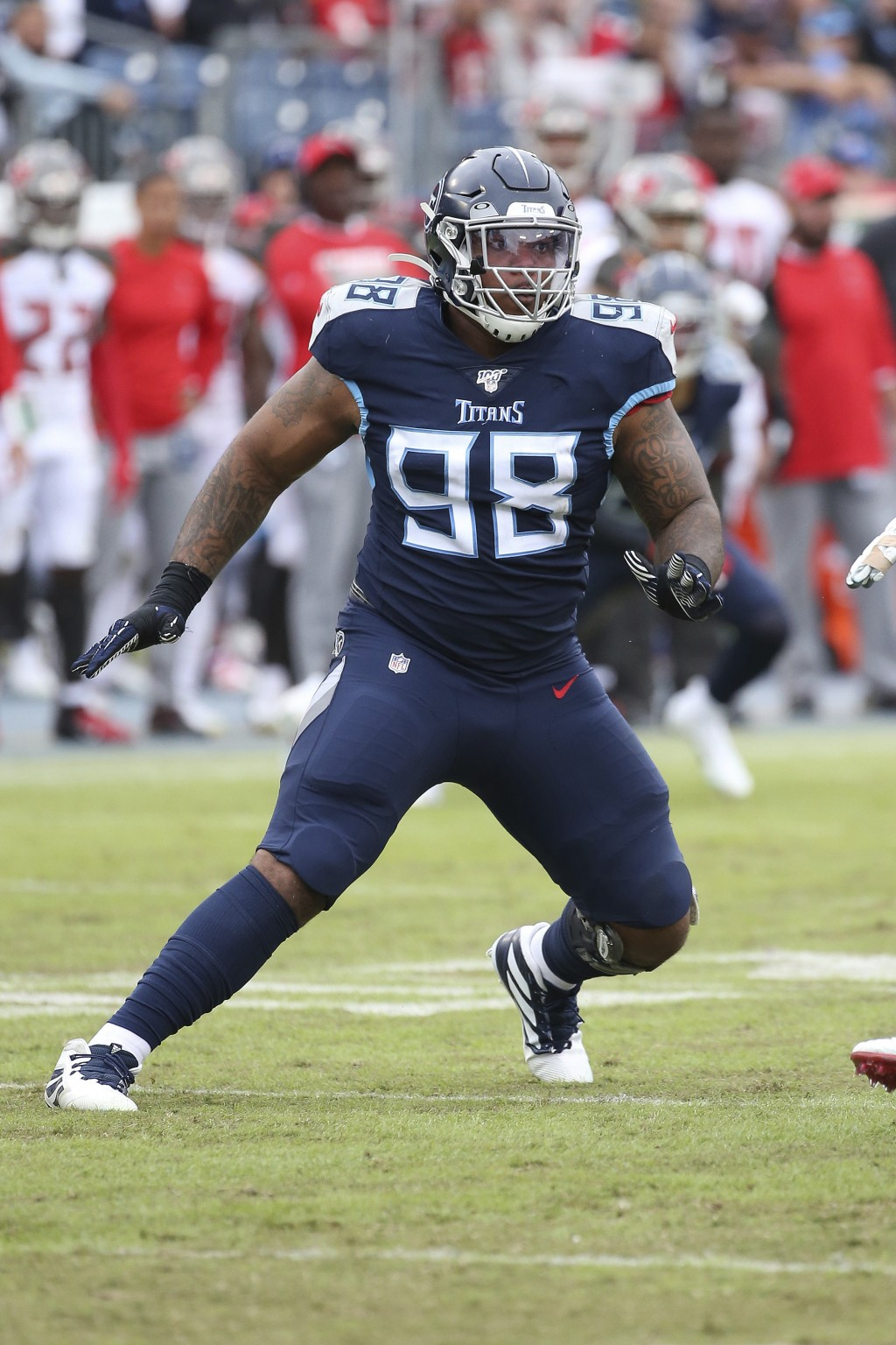 FILE - In this Oct.27, 2019, file photo, Tennessee Titans defensive tackle Jeffery Simmons (98) plays during an NFL football game against the Tampa Ba...