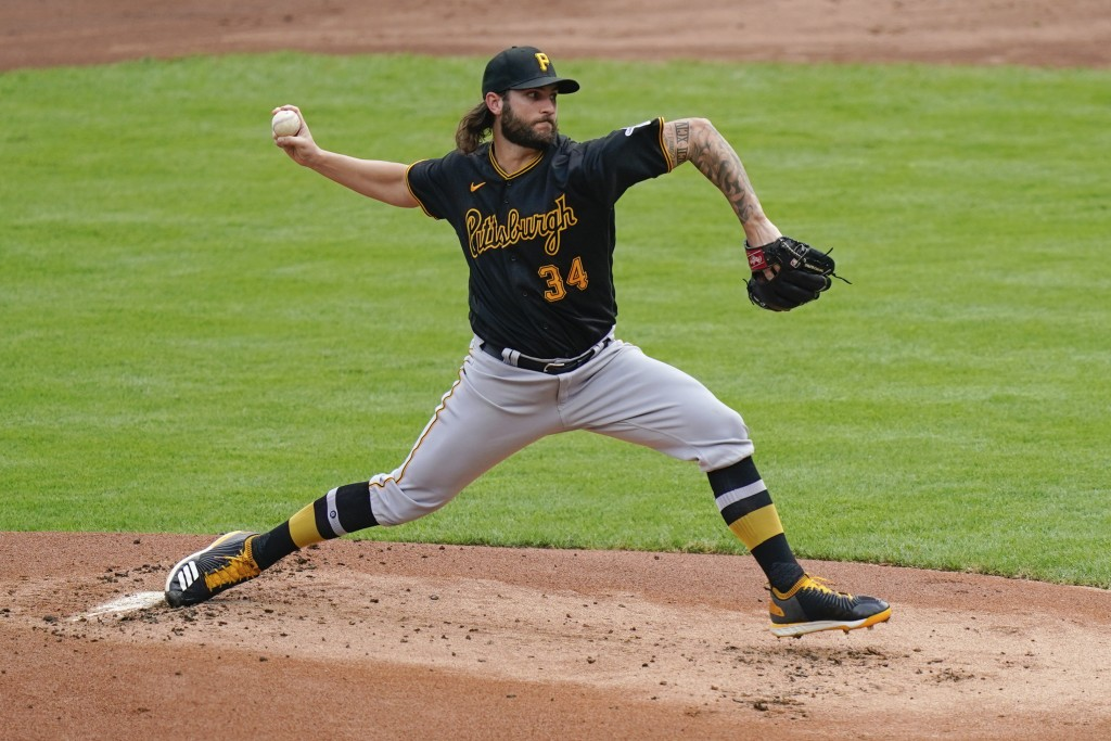 Pittsburgh Pirates starting pitcher Trevor Williams throws during the first inning of a baseball game against the Cincinnati Reds at Great American Ba...