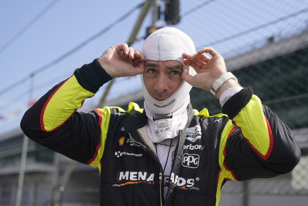 Simon Pagenaud, of France, prepares to drive during a practice session for the Indianapolis 500 auto race at Indianapolis Motor Speedway, Thursday, Au...