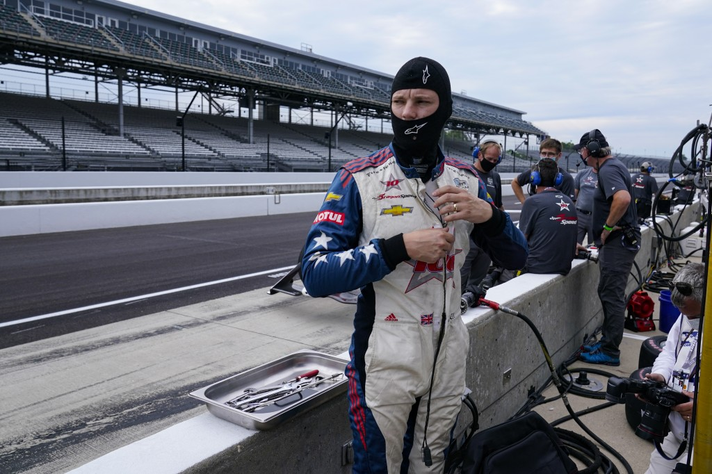Ben Hanley, of England, prepares to drive during practice for the Indianapolis 500 auto race at Indianapolis Motor Speedway in Indianapolis, Thursday,...