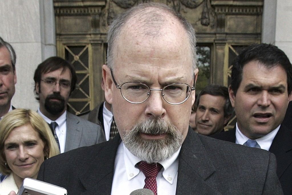 FILE - In this April 25, 2006 file photo, U.S. Attorney John Durham speaks to reporters on the steps of U.S. District Court in New Haven, Conn.  Forme...