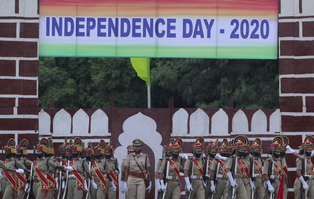 Independence Day parade in Hyderabad, India on Aug. 15, 2020.