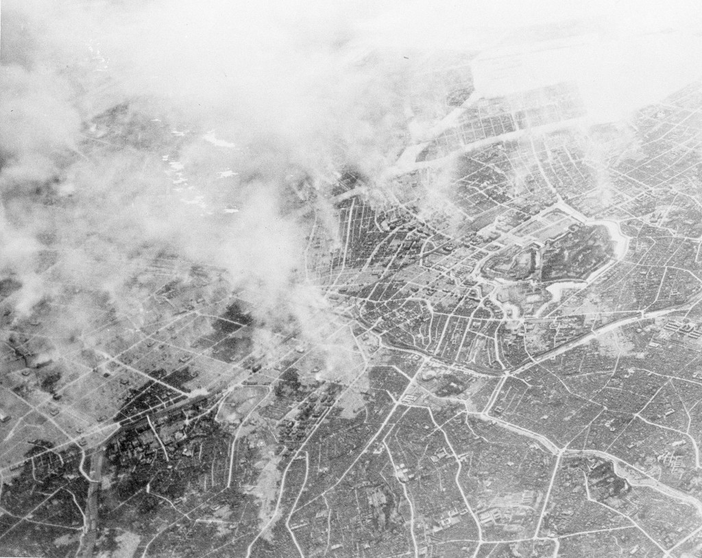 FILE - This March 10, 1945, file photo provided by photo provided by the U.S. Air Force shows plumes of smoke, rising 15,000 feet in the air several h...